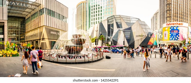 KUALA LUMPUR, MALAYSIA- JUNE, 2019: Panoramic view of Bukit Bintang shopping malls, a famous part of the city for its shopping and vibrant nightlife