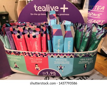 Kuala Lumpur, Malaysia - June 2019 : Tealive product display for sale. Tealive is a Malaysia Based Bubble Tea franchised.