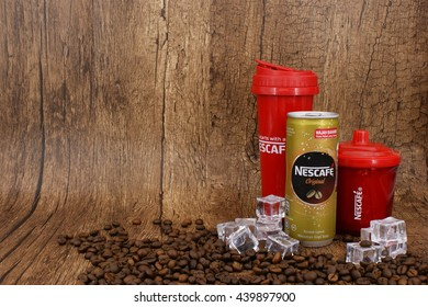 KUALA LUMPUR, MALAYSIA - JUNE 21 2016 : Popular Nescafe can drink. Nescafe is a brand of instant coffee made by Nestle, a Swiss multinational food and beverage company.