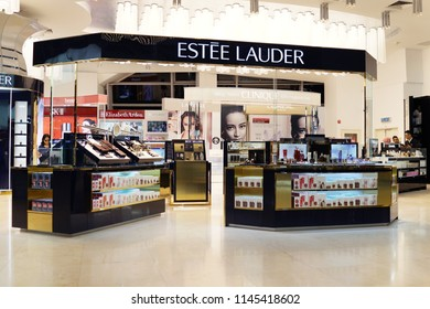 KUALA LUMPUR, MALAYSIA - JUNE 24, 2018: Estee Lauder cosmetic store in KLIA 2 Airport. The Estee Lauder Company is an American manufacturer of skincare, makeup, fragrance and haircare products.