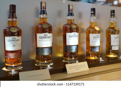 KUALA LUMPUR, MALAYSIA - JUNE 24, 2018: The Glenlivet Single Malt Scotch Whisky on store shelf in KLIA Airport terminal. The Glenlivet brand is the biggest selling single malt whisky in the US.