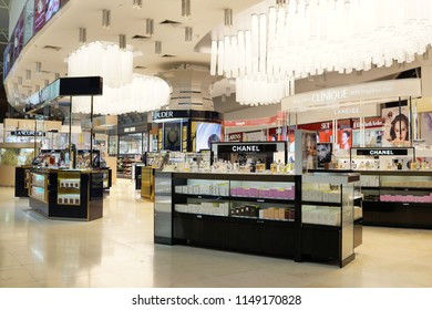 KUALA LUMPUR, MALAYSIA - JUNE 24, 2018: Various brand cosmetic store in KLIA 2 Airport. Cosmetics are the most accessible product, with counters in upmarket department stores across the world.