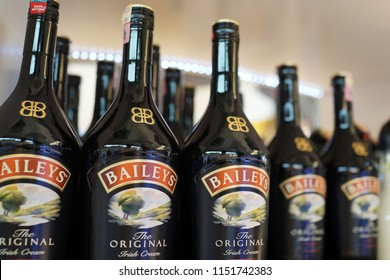 KUALA LUMPUR, MALAYSIA - JUNE 24, 2018: Baileys Irish Cream Whisky on store shelf in KLIA 2 Airport, Malaysia. It is a cream-based liqueur, made by Gilbeys of Ireland.