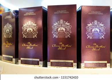 KUALA LUMPUR, MALAYSIA - JUNE 24, 2018: Chivas Regal whisky on store shelf in KLIA 2 Airport, Malaysia. Chivas Regal is the market-leading scotch whisky 12 years aged and more.