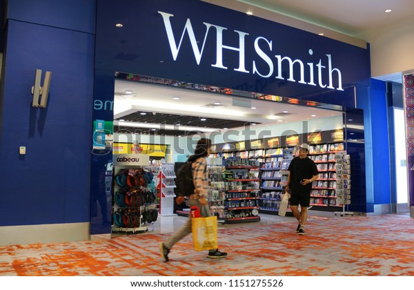 KUALA LUMPUR, MALAYSIA - JUNE 24, 2018: WHSmith storefront in KLIA 2 airport, Malaysia. WHSmith is a British retailer which selling books, stationery, magazines, newspapers and entertainment products.