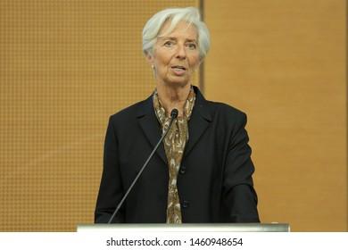 KUALA LUMPUR , MALAYSIA - JUNE 24,2019. Managing director of the International Monetary Fund, Christine Lagarde and Bank Negara governor Nor Shamsiah Mohd Yunus during joining press conference.