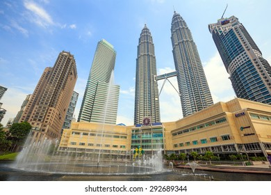 KUALA LUMPUR, MALAYSIA - June 25: Petronas Towers on June 25, 2015 in Kuala Lumpur, Malaysia.Petronas Towers is the tallest buildings in the world from 1998 to 2004