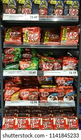 KUALA LUMPUR, MALAYSIA, JUNE 26, 2018 : Kit Kat on shelf.Kit Kat is a chocolate-covered wafer bar confection created by Rowntree's of York , United Kingdom, and is now produced globally by Nestle