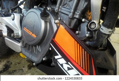 KUALA LUMPUR, MALAYSIA -JUNE 29, 2017: Selected focused on a motorcycle engine. The engine is installed on a specially designed motorcycle chassis. Engine powered with energy from petrol combustion.