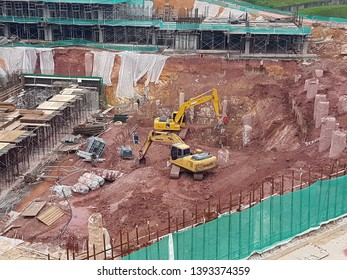 KUALA LUMPUR, MALAYSIA -JUNE 29, 2018: Sub-structure foundation works at the construction site. Constructed by workers with help by heavy machinery