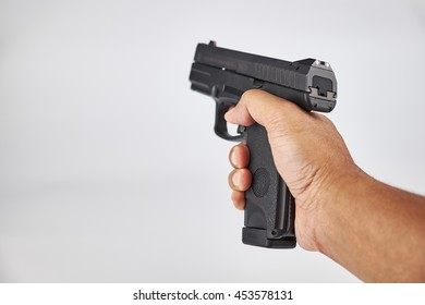 KUALA LUMPUR, MALAYSIA - June 3, 2016: The Steyr C-A1 striker-fired pistol is a compact, semi-automatic, double-action handgun chambered in 9x19mm Parabellum (17-rounds).