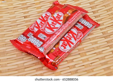 KUALA LUMPUR MALAYSIA, JUNE 4 2017. Kit Kat is a chocolate covered wafer bar created in 1911 by Rowntree's of York, England. Nestle which acquired Rowntree in 1988 now sells Kit Kat globally.