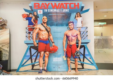 KUALA LUMPUR, MALAYSIA - JUNE 4, 2017:  Baywatch movie poster. Baywatch is a 2017 American action comedy film directed by Seth Gordon and based on the television series stars Dwayne Johnson, Zac Efron