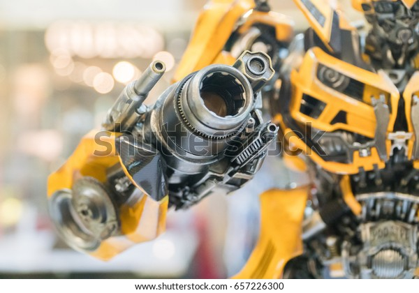 KUALA LUMPUR, MALAYSIA - JUNE 4, 2017: Replica of Bumblebee from The Transformers on display at road show on June 4, 2017 in Kuala Lumpur Malaysia. This event promotes new upcoming Transformers movie