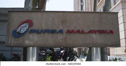 KUALA LUMPUR, MALAYSIA - JUNE 5, 2016 : Signboard of Bursa Malaysia (Kuala Lumpur Stock Exchange) in Kuala Lumpur, Malaysia