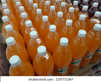 Kuala Lumpur, Malaysia - June 6, 2018 : Mirinda soft drink in supermarket. Mirinda is a brand of soft drink originally created in Spain in 1959 and now owned by PepsiCo with global distribution.