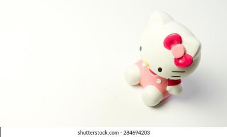 Kuala Lumpur, Malaysia - June 6, 2015 : Studio shot of Hello Kitty figure, fictional character by Sanrio. Hello Kitty, Kitty White or Harokiti is a staple of kawaii segment of Japanese popular culture