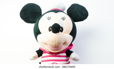 Kuala Lumpur, Malaysia - June 6, 2015 : Figure toy of cute baby Minnie Mouse doll. Minnie Mouse is a cartoon character as Mickey Mouse girlfriend which was created by Walt Disney