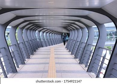 Kuala Lumpur/ Malaysia - June 7, 2019 : pedestrian bridge