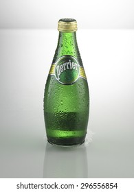 KUALA LUMPUR, MALAYSIA - June19TH 2015,Perrier Natural Mineral Water on white background.