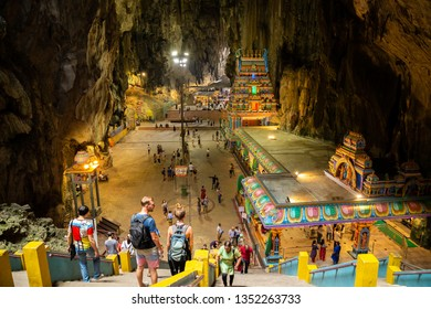 Kuala Lumpur , Malaysia - Mar 2, 2019 : tourist most frequented travel to Batu caves at cave temples , top tourist attractions landmark at Gombak Selangor in Malaysia .