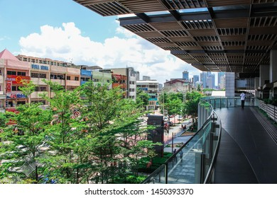 Kuala Lumpur, Malaysia - Mar 21, 2017 :  City view from passage of Nu Sentral mall. Nu Sentral is located next to KL Sentral station, transit-oriented development that houses the main station of KL.