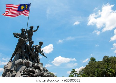 KUALA LUMPUR, MALAYSIA - MAR 23, 2017: Malaysia National Monument also known as Tugu Negara. The National Monument is a sculpture that commemorates those who died in Malaysia's struggle.
