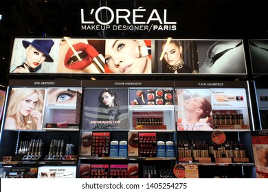 KUALA LUMPUR, MALAYSIA - MAR 25, 2019 : Loreal store cosmetic display in shopping mall. L'Oréal is world's largest cosmetics company in France.