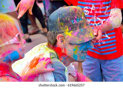KUALA LUMPUR, MALAYSIA - MAR 25: People celebrated Holi Festival of Colors, Mar 25, 2017 in Kuala Lumpur, Malaysia.  Holi, marks the arrival of spring, being one of the biggest festivals in Asia.