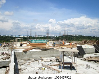 KUALA LUMPUR, MALAYSIA -MARCH 01, 2017: Construction site in progress during daytime. Daily activity is ongoing.
