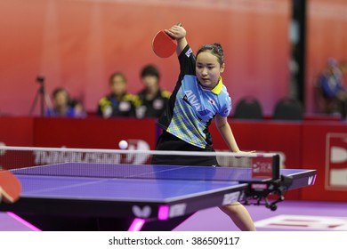 KUALA LUMPUR, MALAYSIA - MARCH 01, 2016: Mima Ito of Japan plays return shot in her match in the Perfect 2016 World Team Table-tennis Championships held in Kuala Lumpur, Malaysia.