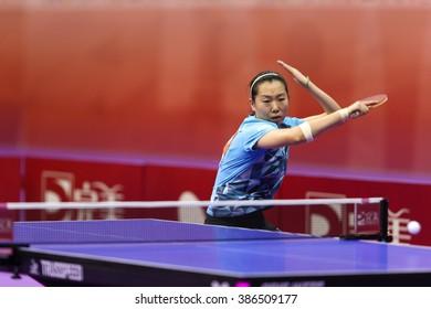 KUALA LUMPUR, MALAYSIA - MARCH 01, 2016: Li Xiaoxia of China plays return shot in her match in the Perfect 2016 World Team Table-tennis Championships held in Kuala Lumpur, Malaysia.