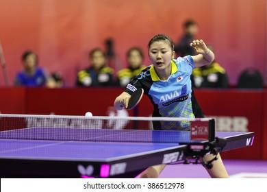 KUALA LUMPUR, MALAYSIA - MARCH 01, 2016: Ai Fukuhara of Japan plays a return shot in her match in the Perfect 2016 World Team Table-tennis Championships held in Kuala Lumpur, Malaysia.
