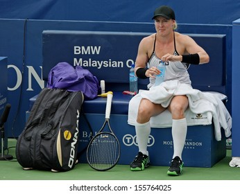 Kuala Lumpur, Malaysia, March 02 2013: American Bethanie Mattek-Sands takes a break during the final match of the WTA Malaysian Open tennis tournament