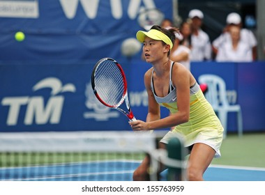 Kuala Lumpur, Malaysia, March 04, 2013: Chang Kai-Chen of Taiwan gestures during the WTA Malaysian Open tennis tournament.
