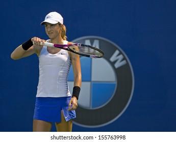 Kuala Lumpur, Malaysia, March 04, 2013: Petra Martic of Croatia  gestures during the WTA Malaysian Open tennis tournament.