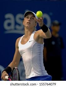 Kuala Lumpur, Malaysia, March 04, 2013: Petra Martic of Croatia  serves during the WTA Malaysian Open tennis tournament.