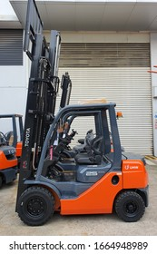 KUALA LUMPUR, MALAYSIA, MARCH 05 2020 : Side view of TOYOTA forklift at Shah Alam headquarters,