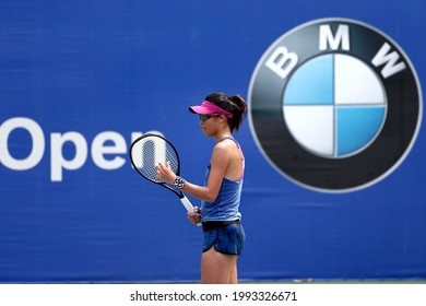 KUALA LUMPUR, MALAYSIA - MARCH 05: Su-Wei Hsieh of Chinese Taipei in action against Misa Eguchi of Japan during day four of the BMW Malaysian Open at The Royal Selangor Golf Club on March 5, 2015.