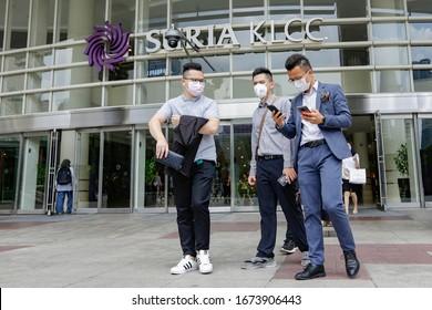 KUALA LUMPUR, MALAYSIA - MARCH 07, 2020. Local people are wearing protective masks following an outbreak of the coronavirus disease (COVID-19) at the shopping mall in Kuala Lumpur.