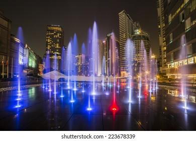 KUALA LUMPUR, MALAYSIA - MARCH 11 2014. Petronas Twin Towers at night on March 11, 2014.
