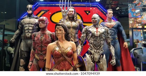 KUALA LUMPUR, MALAYSIA - MARCH 11, 2018: Justice League statue featuring Wonder Woman, Batman, Superman, Aquaman, Cyborg and The Flash at Kuala Lumpur, Malaysia.