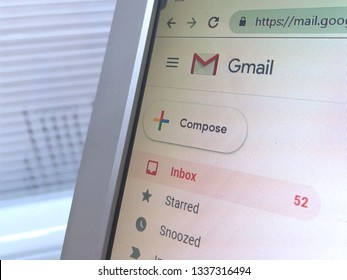 Kuala Lumpur, Malaysia:  March 13, 2019: Gmail application website on desktop monitor. Gmail is a free email service developed by Google.