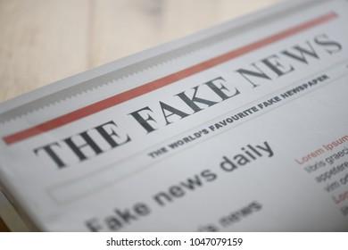 Kuala Lumpur, Malaysia - March 15 2018: The Fake News paper