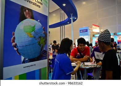 KUALA LUMPUR, MALAYSIA - MARCH 17: Sunway University  promote the exhibition during the Falcon Education Fair 2012 at Kuala Lumpur Convention Centre (KLCC) March 17, 2012 in Kuala Lumpur.