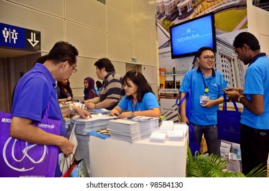 KUALA LUMPUR, MALAYSIA - MARCH 17:SEGI University College promote the exhibition during the Falcon Education Fair 2012 at Kuala Lumpur Convention Centre (KLCC) March 17, 2010 in Kuala Lumpur.