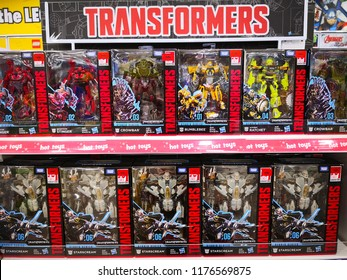 KUALA LUMPUR, MALAYSIA -MARCH 18, 2017: Transformers television cartoon and film action figure display on market.