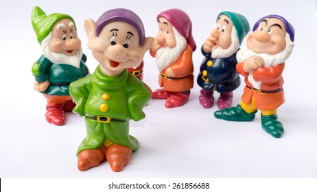 Kuala Lumpur, Malaysia - March 19, 2015 : Figure toy of dwarf from Disney's 1937 American animated musical fantasy film Snow White and the Seven Dwarfs. Film was produced by Walt Disney Productions