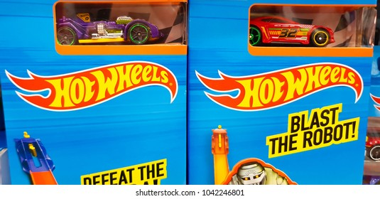 KUALA LUMPUR, MALAYSIA - MARCH 2, 2018: Hotwheels toys logo on display at Toys 'r us. Hotwheels is a product of Mattel, with factories located in Penang, Malaysia and Thailand.