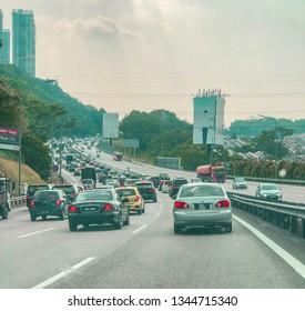 Kuala Lumpur, Malaysia - March 20, 2019: Massive traffic jams along PLUS Highway, north bound near Jalan Duta.